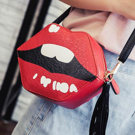 2017 Fashion New Women Handbags High-quality PU leather Women bag Funny Print lips Shoulder Bags Tassel Hit color Female bag