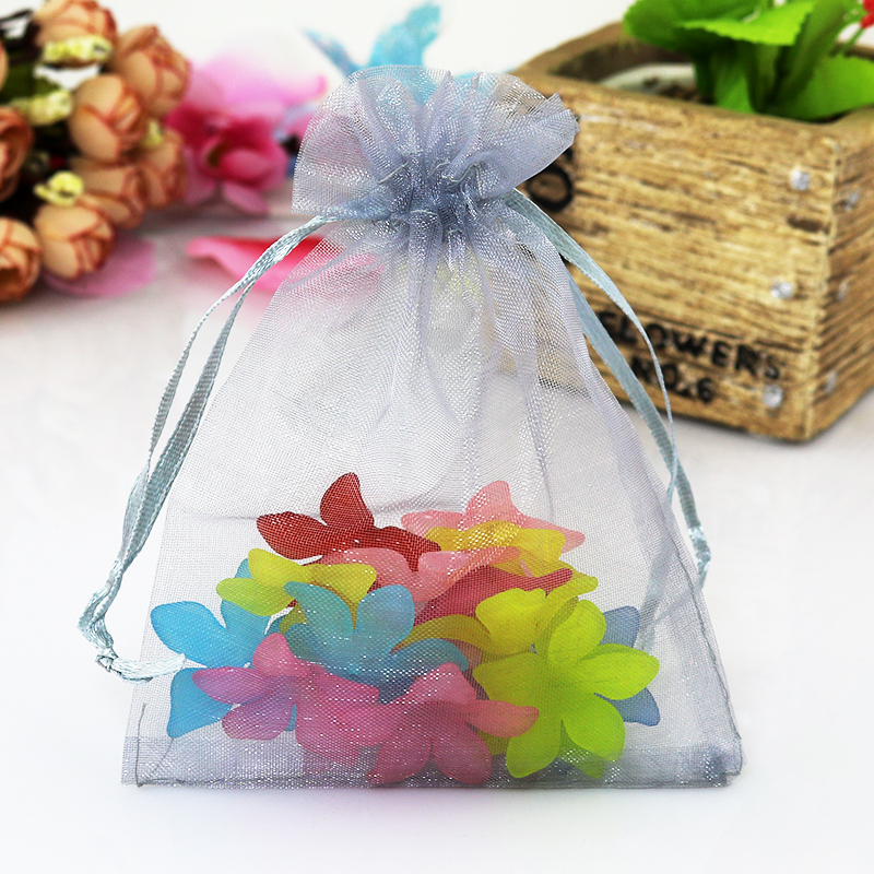Купить с кэшбэком 9x12cm Mixed Color Organza Packaging Bags Bags For Gift Small Drawstring Pouches Wedding Gift Jewelry Bags 100pcs/lot Wholesale