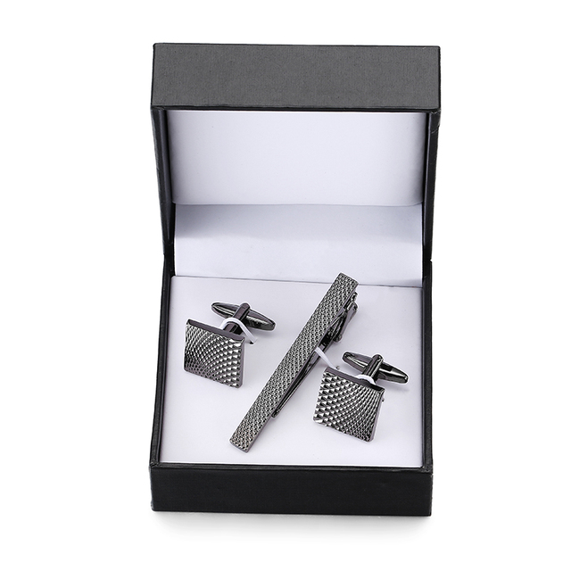002d6b47330e 1 new luxury brand Cufflinks tie clip black metal laser Cufflinks tie clip,  classic boutique