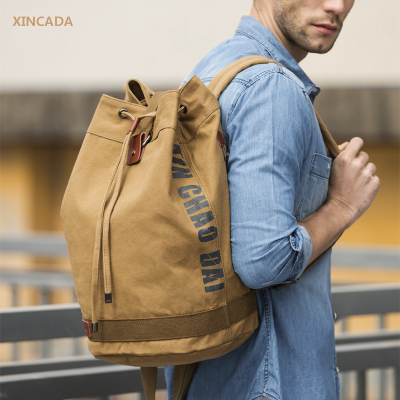XINCADA Mens bucket shaped solid color large canvas backpacks with laptop bags travel the best back packs school bags Mochilas