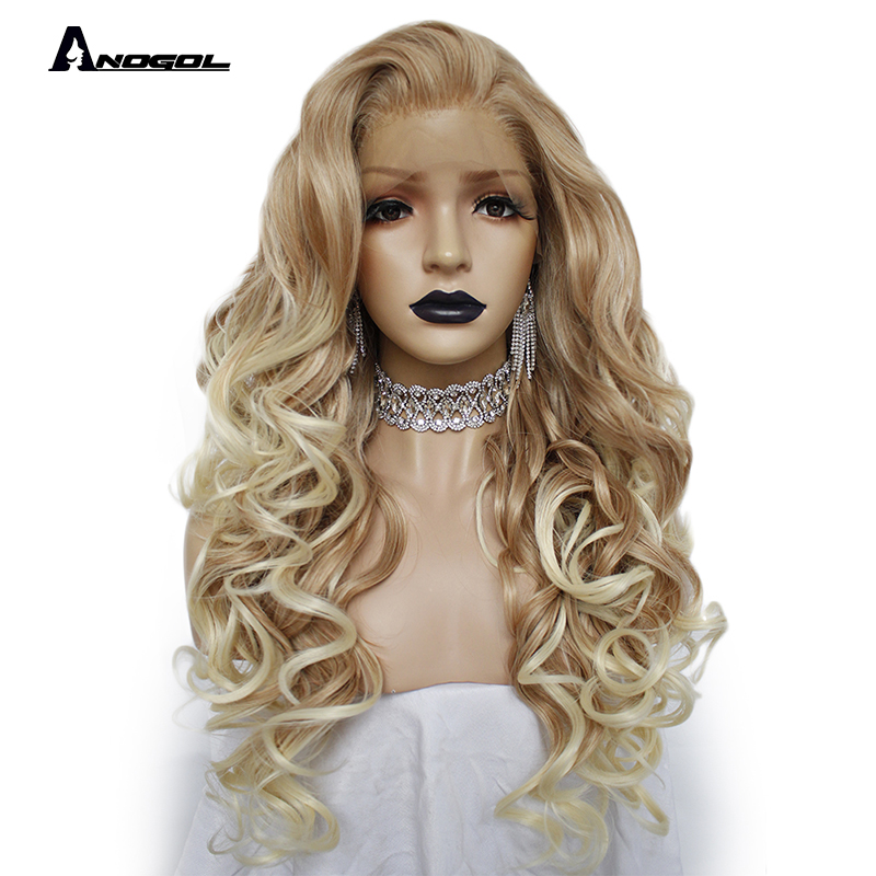 Anogol 150% Long Deep Wave Gold Blonde Ombre Synthetic Lace Front Wigs Free Part High Temperature Fiber 24