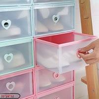 6pcs/set Portable Shoe Organizer Drawer Transparent Plastic Shoe Storage Box Heart PP Thicken Shoes Organizer Drawer Shoe Boxes