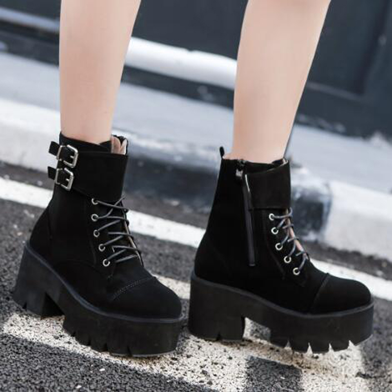 lace up punk boots women ladies platform boots High Heel winter shoes motorcycle Ankle Boots waterproof snow boots women LJA71 in Ankle Boots from Shoes