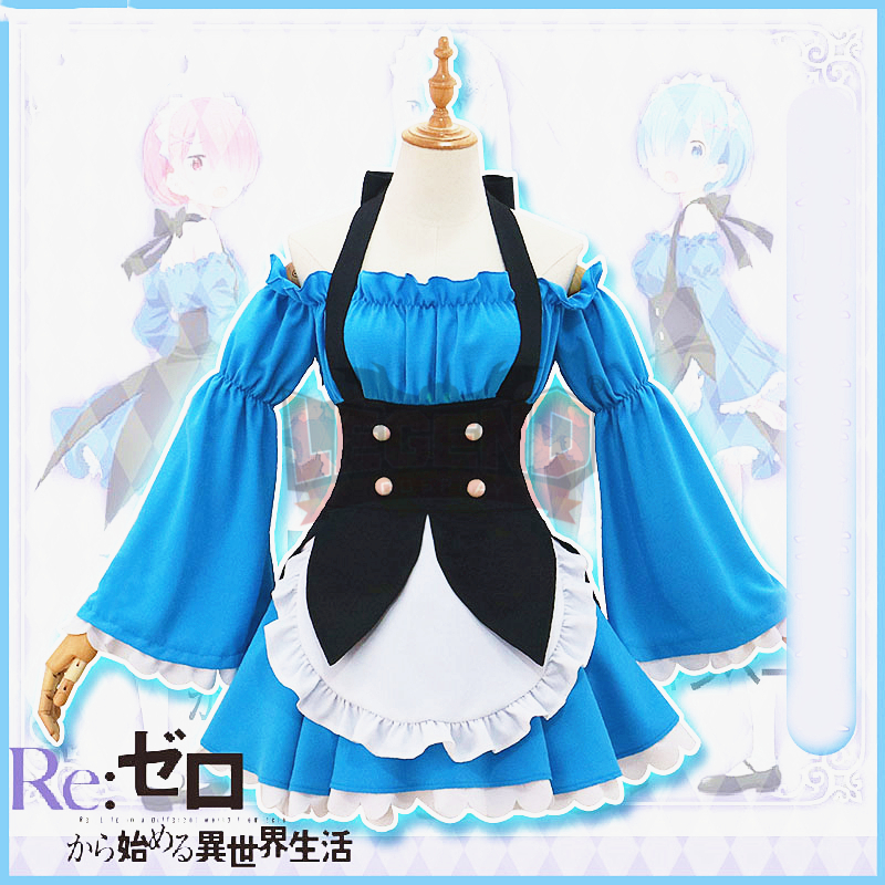 Re:Zero Life in a Different World from Zero Rem Ram Cosplay adult costume maid dress blue re life in a different world from zero maid ram with mop on the floor pvc figure collectible model toy 22cm kt4218