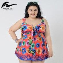 2017 Plus Size Swimwear Dress Swimming Suit for Women One Piece Swimsuit  Summer Beach Wear Bathing Suits Halter Swim