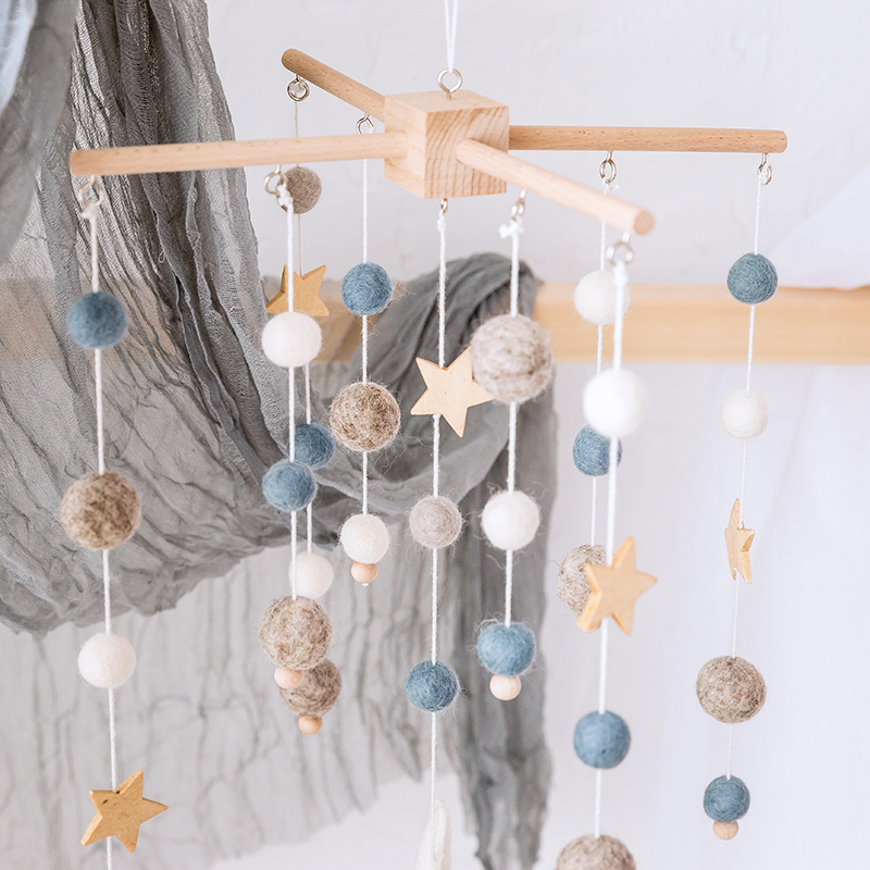 Wooden Baby Stars Rattles Mobile Wool Balls Wind Chimes Bell Toys Infant Room Bed Hanging Tent Decor Nursing Children Baby Toys