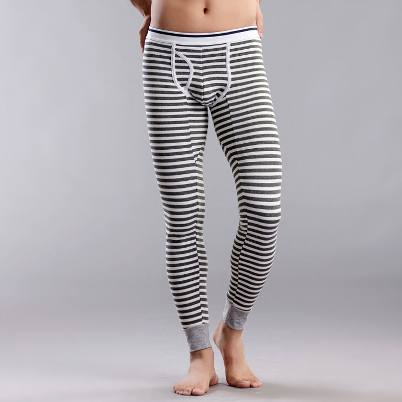 Mens Cotton Thermal Striped Underwear Long Johns Ankle-length Skinny Pants Mid-Rise Leggings Plus Velvet Autumn Winter Pajamas