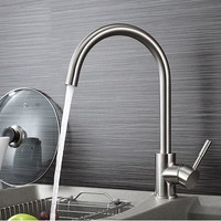Classic Crane Kitchen Faucet Brass Brushed Nickel Silver Bathroom Basin Faucets Single Handle Hole Mixer Water