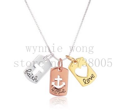 2015 new inspirational tri colored silver yellow rose gold flashed 2015 new inspirational tri colored silver yellow rose gold flashed faith hope love open cross hearts charm pendant necklace in pendant necklaces from aloadofball Image collections