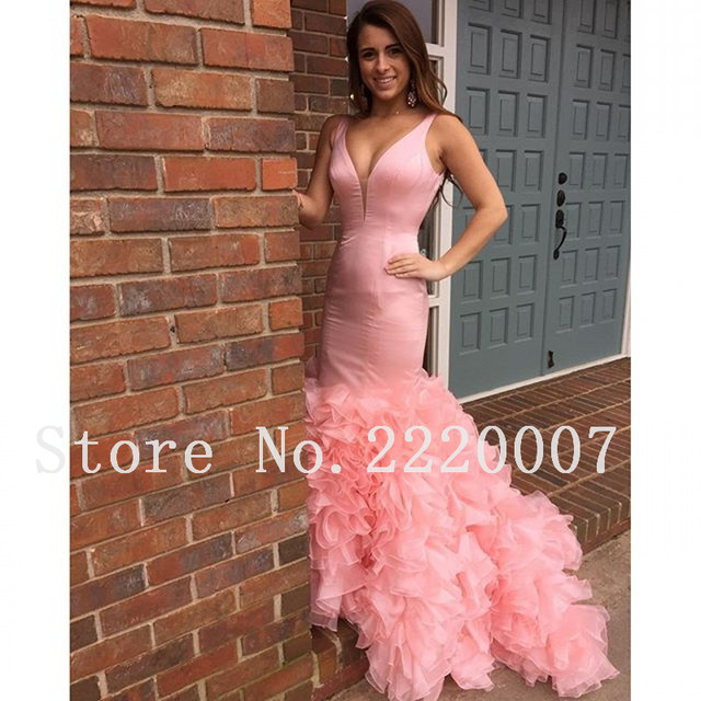 Mermaid prom dress vestidos de fiesta v cuello rosa hecho a mano de ...