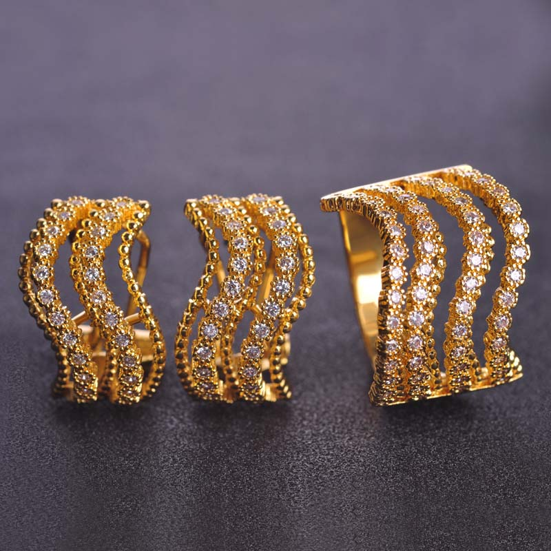 Dazz Micro Inlay Cubic Zircon Earring Ring Jewelry Sets Gold- Color Wedding Accessorieslima Peru Copper Jewelry Set Bijoux