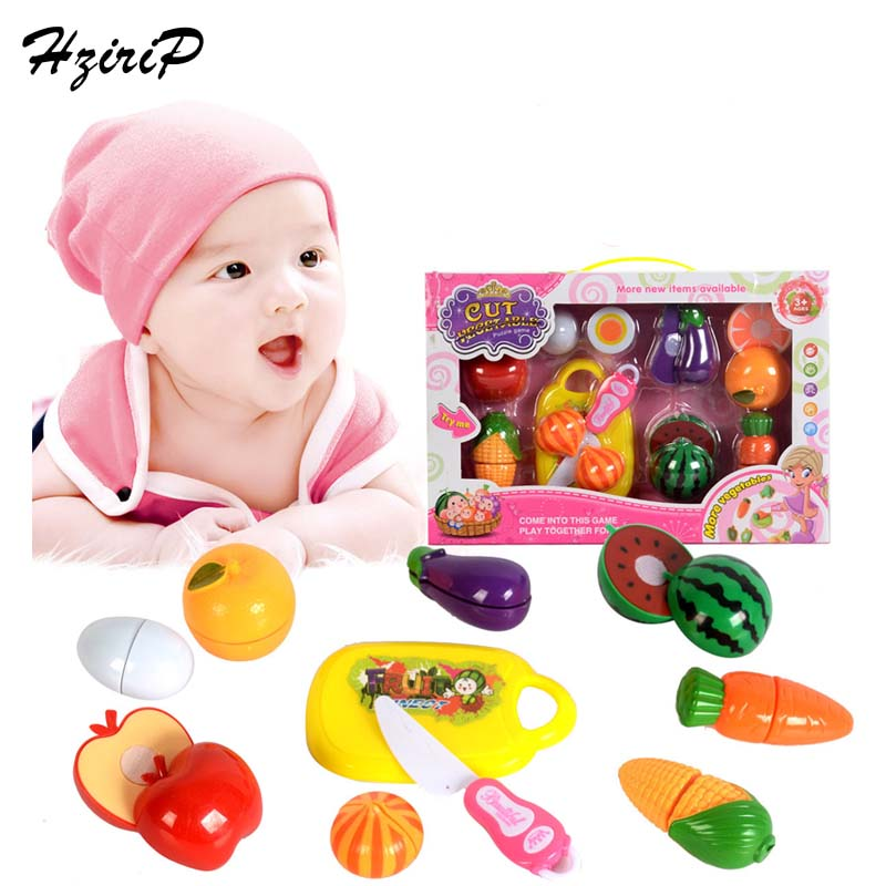 HziriP Hot Sale Baby Kitchen Toys Safety Plastic Fruit Food Set Kids Pretend Play Educational Toys for Children Free Shipping
