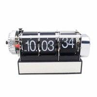 1 Piece 2 Colors Creative Design Auto Flip Mini Alarm Desktop Clock For Art Home Bedroom Decoration Table Clock (Black & White)
