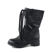2018 Genuine Leather Women Boots Fashion Fall Winter Platform High-heeled Lace Up Ankle Boots Female Shoes Black Boots ZK2.5