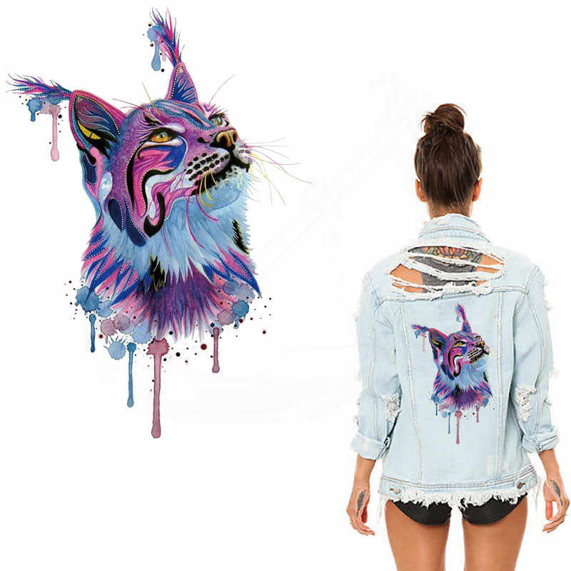 2018 New Water painted beautiful cat iron on patches 28*19.5cm Diy T-shirt Dresses thermal transfer Patch for clothing