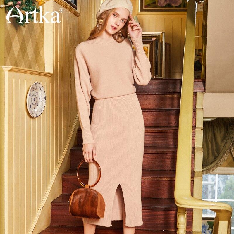 ARTKA весеннее Новое Женское однотонное простое платье футляр с разрезом JL17045