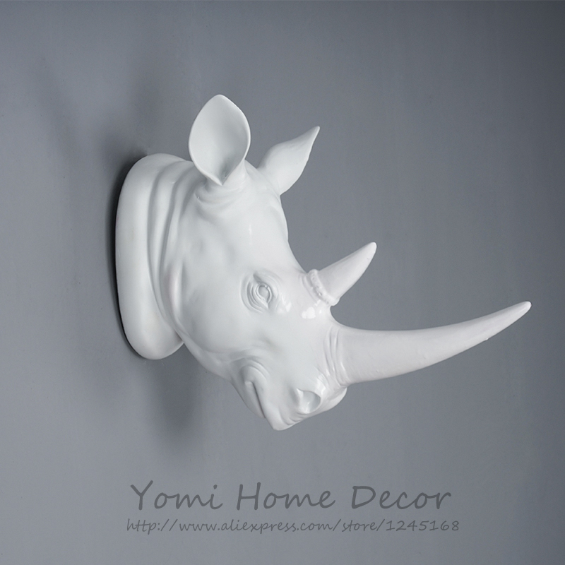 White Resin Animal Head Rhino Rhinoceros Faux Taxidermy Modern Home Decor Hanging Wall Mount Sculptures Collection Statue On Aliexpress Alibaba
