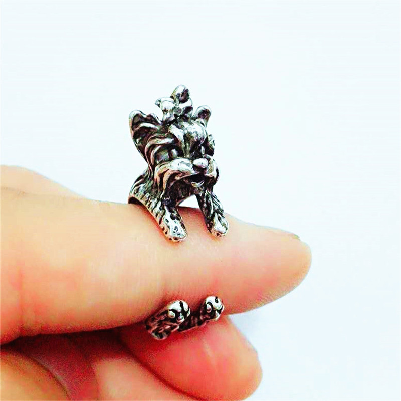 RONGQING Anillo 12pcs/lot Yorky Terrier Rings Adjustable Anillo Hombre Animal Rings for Women and Children Pet Lovers