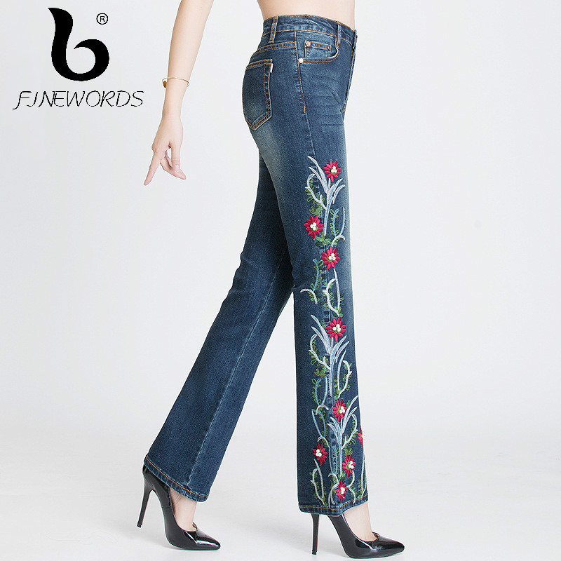FINEWORDS folk-custom Jeans Woman Handmade Flower Embroidery Beading High Waist Jeans Bell Bottom Stretch Embroidered Flare Pant a three dimensional embroidery of flowers trees and fruits chinese embroidery handmade art design book