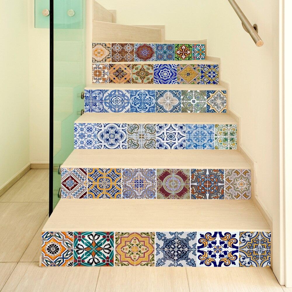 6 шт. 3D Керамика геометрический плитка Наклейки на стену самоклеящиеся лестница Наклейки DIY для комнаты Лестницы украшения дома
