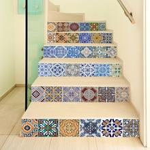 6 adet 3D Seramik Geometrik karo zemin duvar çıkartmaları Kendinden Yapışkanlı Merdiven Çıkartmalar DIY Odası Merdiven Dekorasyon Ev