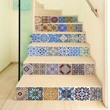 6pcs 3D Azulejo Piso de Cerâmica Geométrica Adesivos de Parede Auto Adesivo Escadas Escada Adesivos DIY Para O Quarto Decoração de Casa