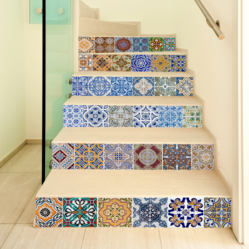 6pcs 3D Ceramic Geometric Tile Floor Wall Stickers Self   Adhesive Stairway Stickers DIY For Room Stairs Decoration Home-in Wall Stickers from Home & Garden