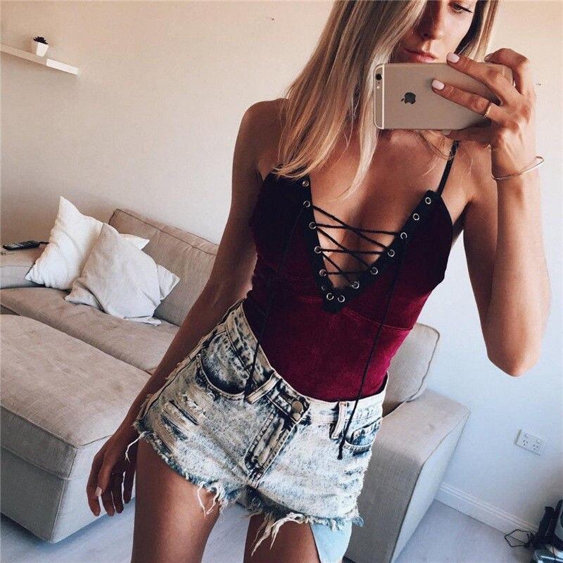 2018 Newly Fashion Sexy Velvet Bodysuit 3 Style Sleeveless V-Neck Belt Solid Skinny Bodysuit Outfit Summer Size S-XL