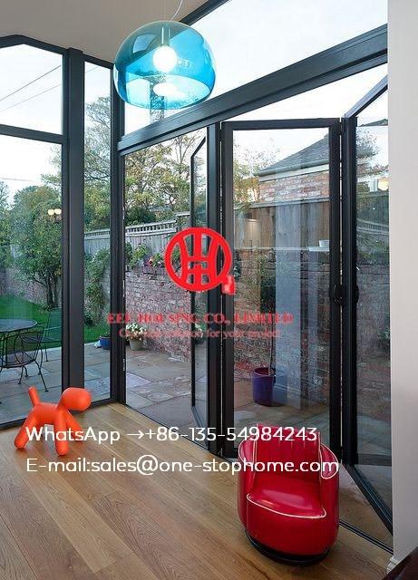 Double Glass Interior Waterproof Aluminum Folding Door,soundproof Folding Door,Sound Reduction Aluminum Bi-folding Door