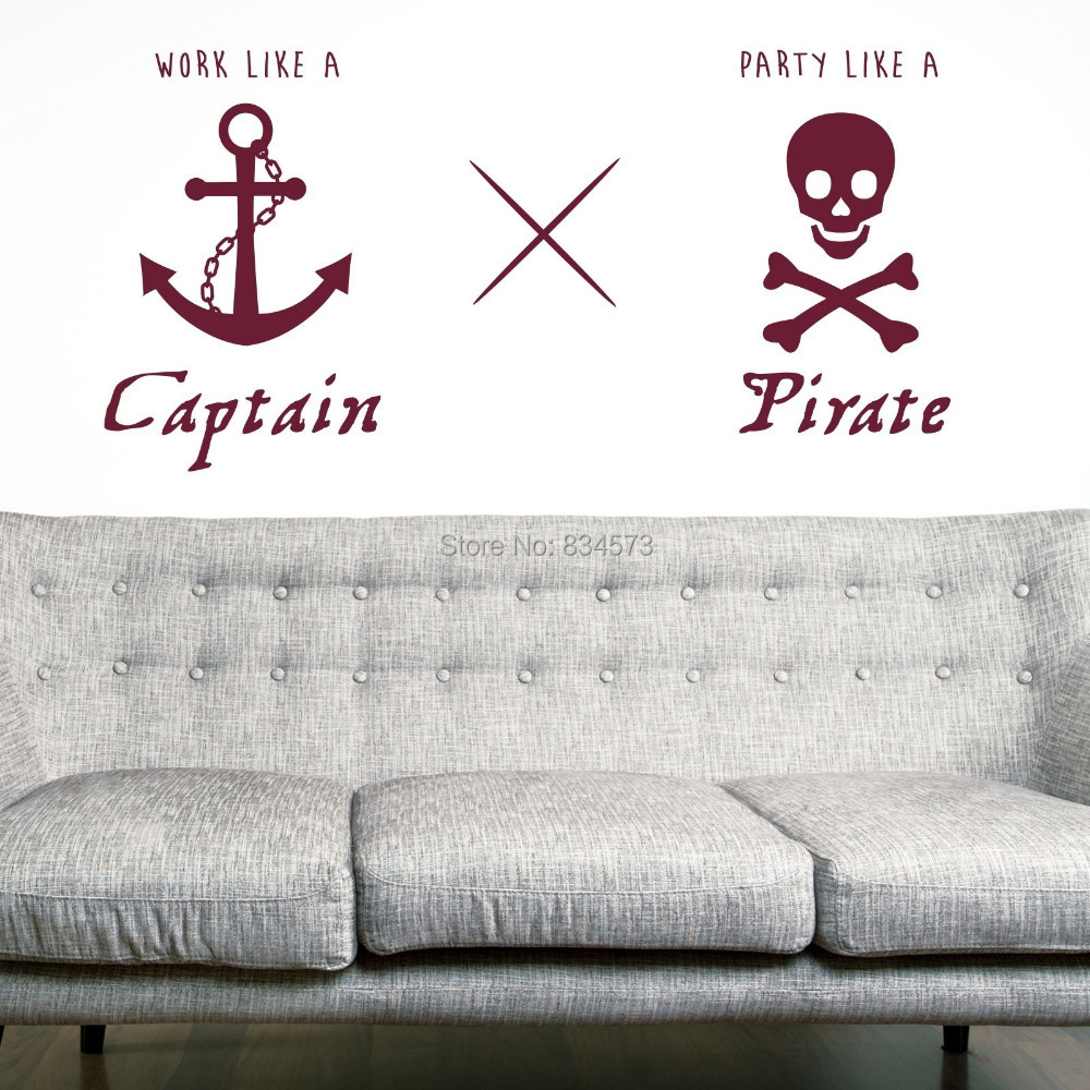 Work Like A Captain Pirate Wall Art Sticker Decal Home Diy