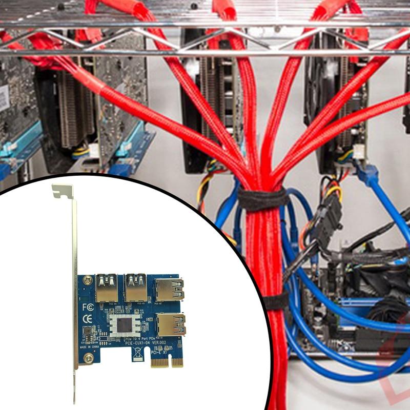 Caliente tarjeta PCI Express Riser pci-e 1x a 16x1 a 4 PCIe USB 3.0 ranura multiplier Hub adaptador para la minería bitcoin minero BTC máquina