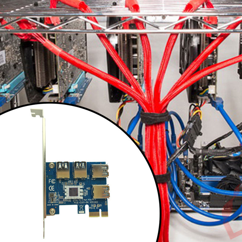 Hot PCI Express Riser Card PCI-E 1x To 16x 1 To 4 PCIE USB 3.0 Slot Multiplier Hub Adapter For Bitcoin Mining Miner BTC Machine