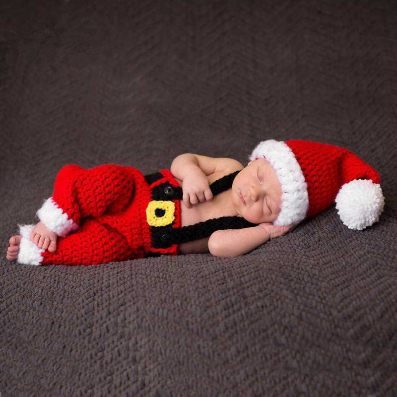 Newborn Photography Props Accessories Baby Christmas Hat+Romper 2Pcs/Set Christmas Photography Knitted Clothing Baby Photo Props