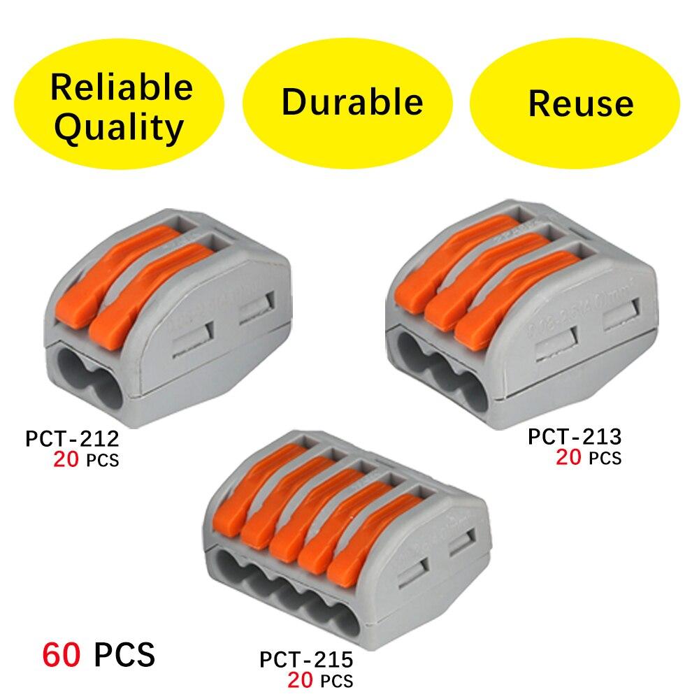 (60 PCS )Wago type PCT-212 213 215 20pcs 2P + 20pcs 3P + 20pcs 5P Universal Compact Wire Connector Conductor Terminal Block 20pcs 2sk3878 to 3p