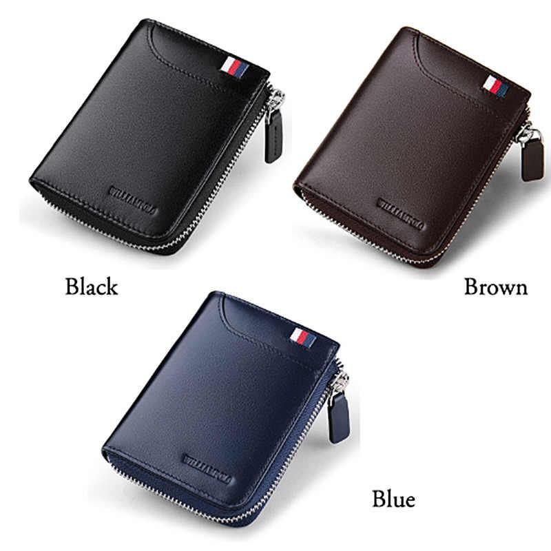 Мужские бумажники с карманом для монет из натуральной кожи, повседневный маленький кошелек на застежке для кредитных карт, мужской минималистичный