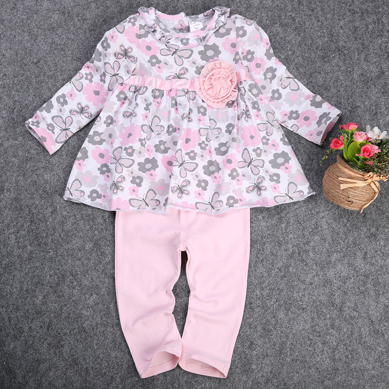 2 pcs Bébé Fille Kid vêtements set Nouveau-Né T-shirt Floral Peplum Robe +  Pantalon Pantalon 2 pcs Vêtements Outfit Set princesse robe Rose 161b9010255