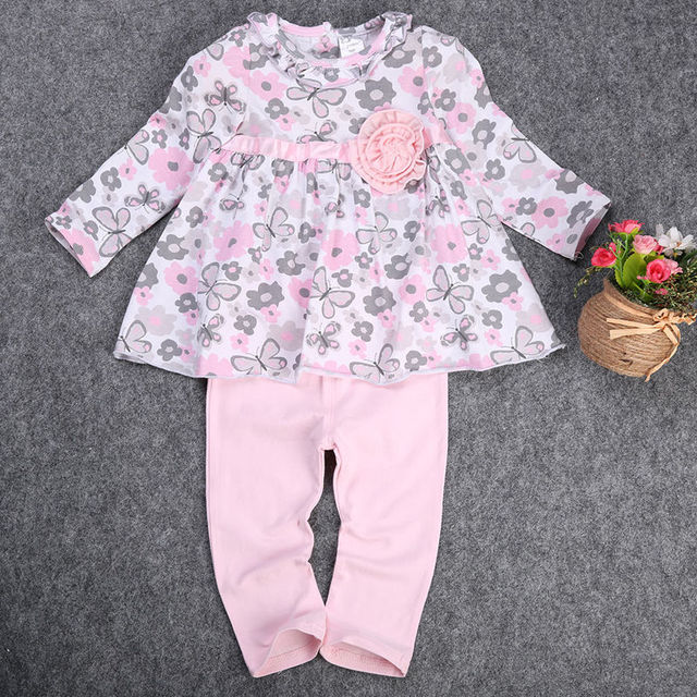 2pcs Baby Girl Kid clothing set Newborn T-shirt Floral Peplum Dress+Pants Trousers 2pcs Clothing Outfit Set princess dress Pink