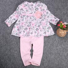 2 шт. Девочка Малыш одежда набор Новорожденных Футболки Цветочные Баски Платье + Брюки 2 шт. Одежда Экипировка Набор платье принцессы-Розовый