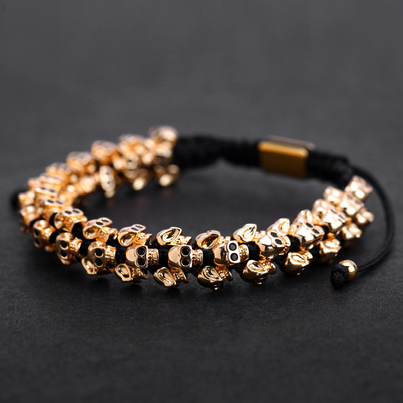 Mcllroy Gold Skull Braided Bracelet Men Punk Hiphop Skeleton Luxury Charm Weaving Bracelets Bangles Custom Logo