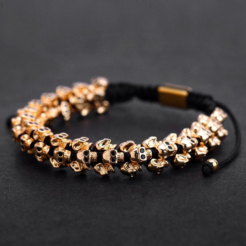 Mcllroy Gold Skull Braided Bracelet Men Punk Hiphop Skeleton Luxury Charm Weaving Bracelets Bangles Custom Logo Men Jewelry 2019