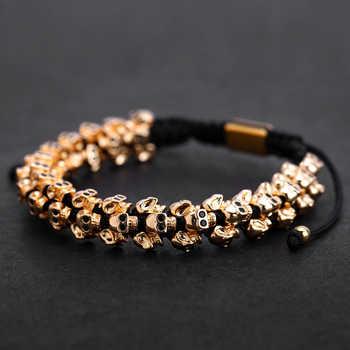 Mcllroy Gold Skull Braided Bracelet Men Punk Hiphop Skeleton Luxury Charm Weaving Bracelets Bangles Custom Logo Men Jewelry 2019 - DISCOUNT ITEM  45% OFF All Category