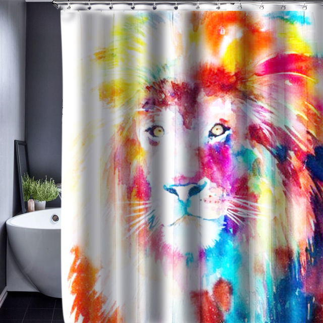 Lion Pattern Shower Curtain Customized Waterproof Bathroom Fabric 150x180cm For