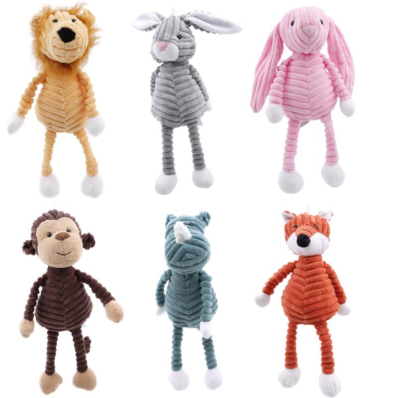 1pc Cute Plush Toy Forest Animal Stripe Elephant Lion Fox Rabbit Pig Panda Chicken Monkey Soft Doll Birthday Gift