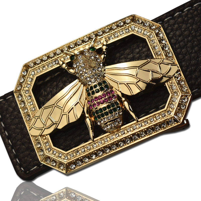 Image 5 - Luxury Brand Belts for Men &Women Unisex Fashion Shiny Bee Design Buckle High Quality Waist Shaper Leather Belts 2019-in Men's Belts from Apparel Accessories on AliExpress