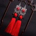 Big star tradicional Miao plata Flecos cuelga los pendientes borla roja, nuevo viento Chino Étnico pendientes joyería rojo