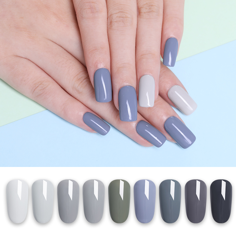 LILYCUTE 5ML Pink Nude Grey Series Soak Off UV Gel Polish Black White Long Lasting Pure Nail Color Nail Gel Varnish Manicure in Nail Gel from Beauty Health