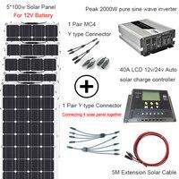 Лидер продаж 500 Вт солнечной системы домашнего DIY kit с 5*100 Вт гибкие солнечные панели 1000 Вт инвертор 12 в/24 В 40A ЖК дисплей контроллер Солнечный