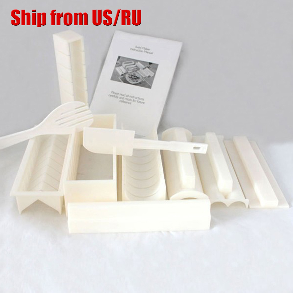 Free shipping 11pcs DIY Sushi Master Maker Rice Mold Kitchen Sushi Making Machine Tool Set Perfect