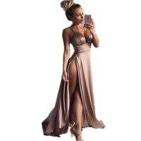 Women Satin Long Dresses 2017 Summer Club Party Vestidos Split Elegant Maxi Dress Slim Spaghetti Strap