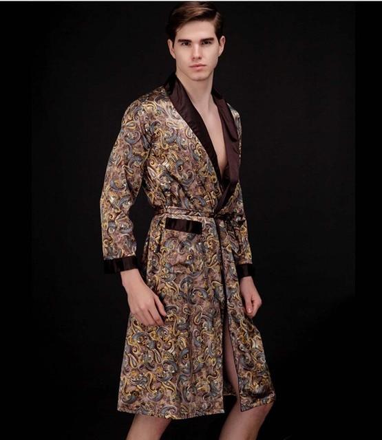 Free Shipping 2017 New Real Men Bathrobe Geometric Robes V-neck Imitation Silk Knitted Sleepwear Full Sleeve Nightwear Robe